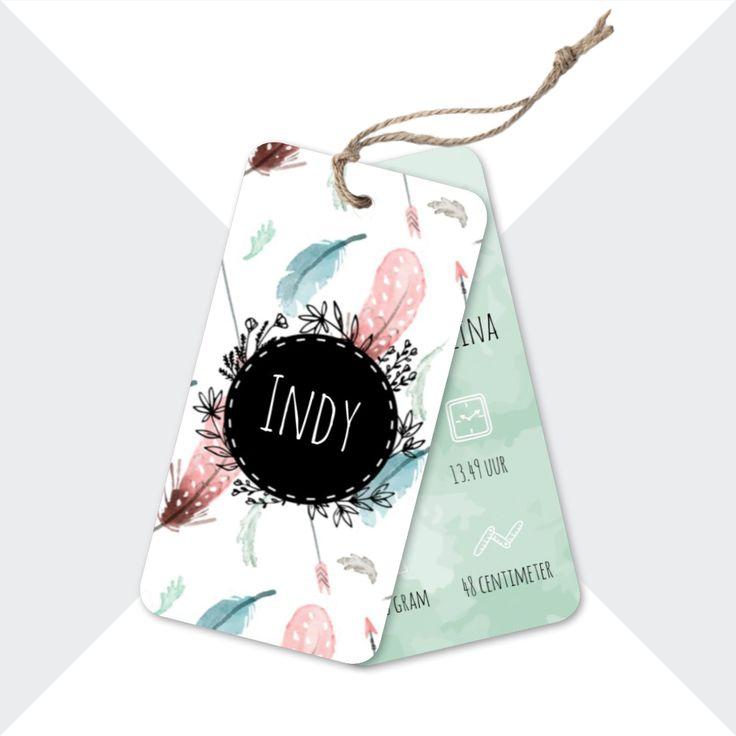 Hip geboortekaartje in bohemian/boho stijl, bestaande uit twee labels met afgeronde hoeken   Geboortekaartje Indy