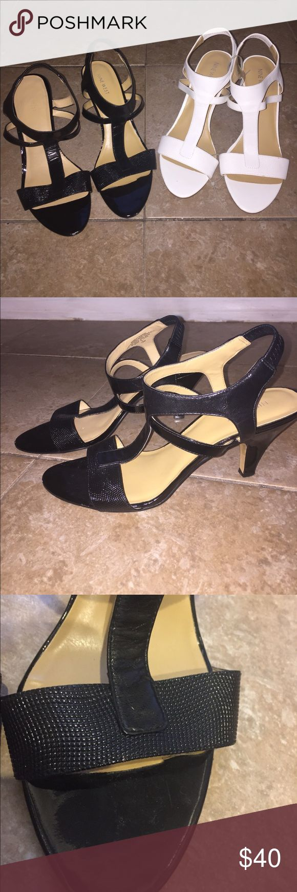 NINE WEST Heels Sz 10. **Two Pairs** White & Black NINE WEST Heels. **Two Pairs** Size 10. White are NWOT - never worn. Black are lovely.  Great for work or with dresses. $40 OBO Nine West Shoes Heels