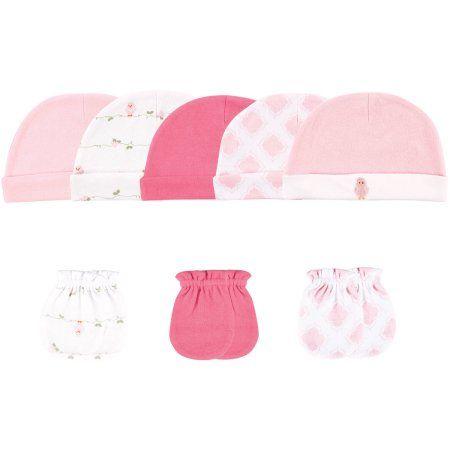 Luvable Friends Newborn Baby Girls Cap 5-Pack & Mitten 3-Pack - Bird, 0-6 months, Newborn Girl's, Size: 0 - 6 Months, Pink