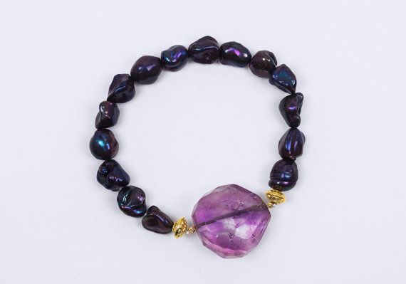 Real amethyst and fresh water pearls bracelet by ErikaKormaDesigns