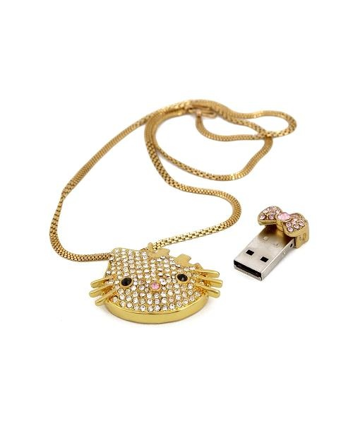 Accesorize her with techonolgy. Bring that precious smile to her face every-time she sees it. Let her remember you whenever she need do some file transfer with this thoughtful kitty pen drive in her office. give her this cute hello kitty pendent with golden finish embedded with american zercon diamonds while surprising her with a secret USB drive inside. Make Her Day special! Everyday! Available at: www.giftzemporio.com