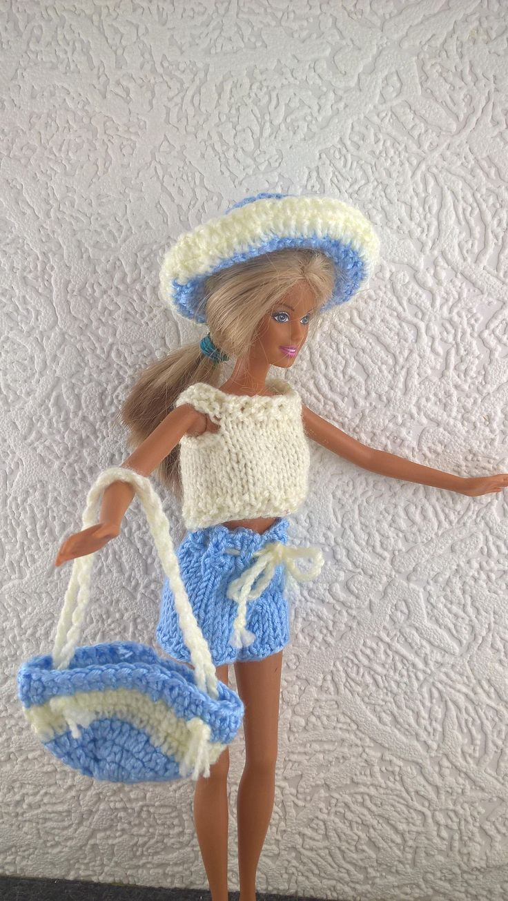Barbie is off to the beach! Blue and cream shorts, top, hat and bag for 12inch fashion doll. OOAK hand knit Barbie outfit. Doll clothes. by Nobodyknitsitbetter on Etsy