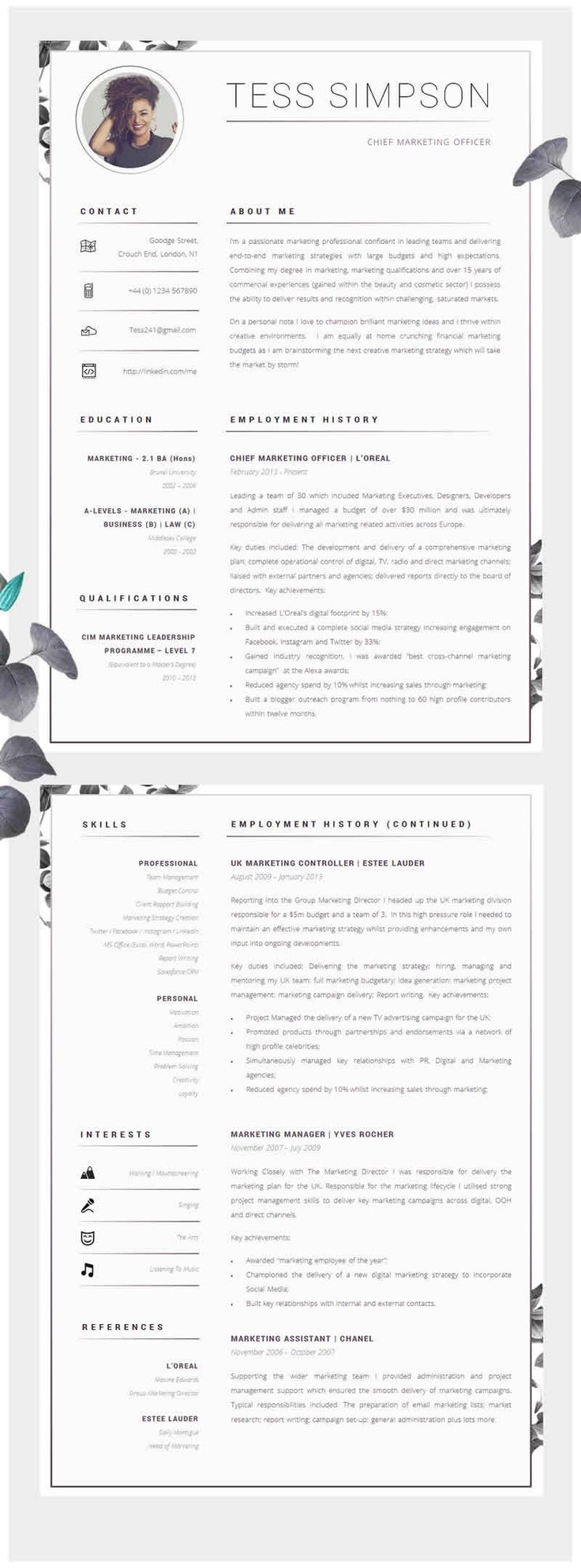 CV Template Creative Resume Template Two Page