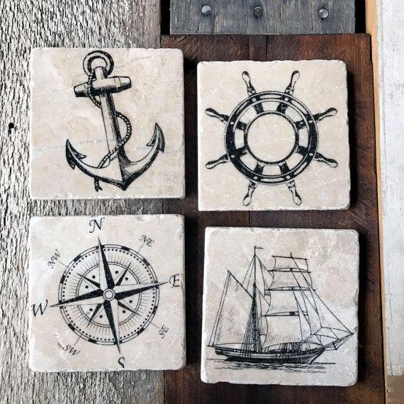 Nautical Coaster Set Ship Anchor Wheel Helm Compass