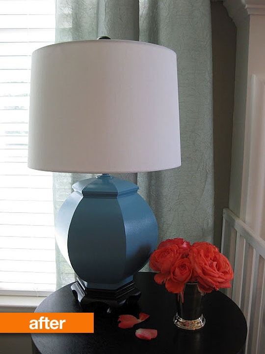 The revamped lamp looks so classy you'd never guess it was a cheap thrift score.