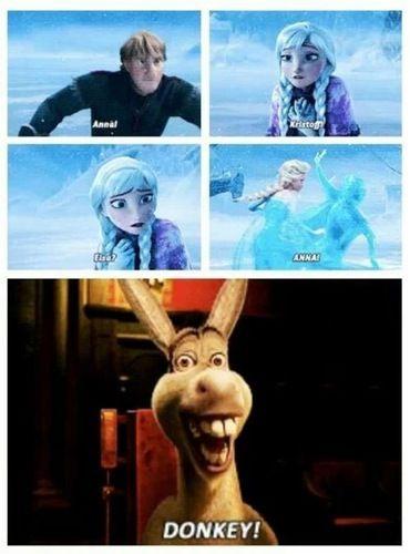 20 Hilarious Frozen Memes... Anna, Kristoff, Elsa, Anna... Donkey! :-P (m-magazine.com)