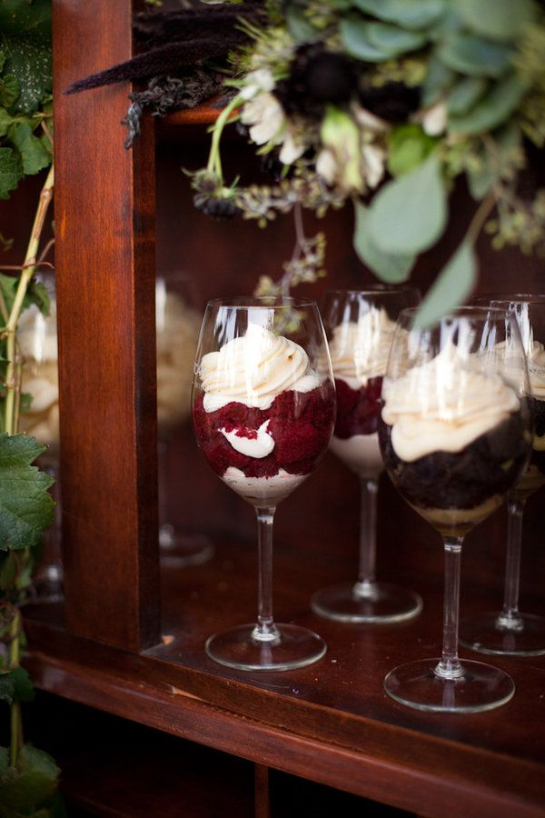 smushed up cake in a wine glass- for wine themed bridal shower @Sarah Chintomby Breaux Fagan & @Nicole Novembrino Novembrino Wall