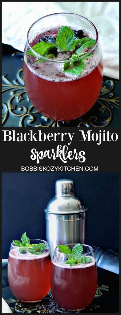 Blackberry Mojito Sparklers - Blackberries, lime, and mint all play together in this light, bright, and bubbly cocktail with @stirringsmixer All Natural SImple Mojito Mix. From www.bobbiskozykitchen.com