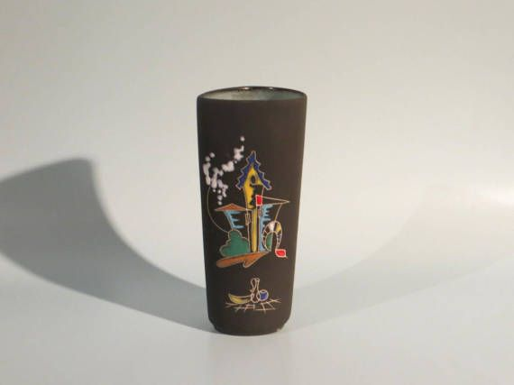 50er Jahre vintage Keramik Vase von KETO  Form 1012  Dekor