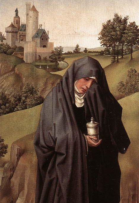 Mary Magdalene, 1445, Rogier van der Weyden (1399/1400 – 1464). Left panel of his Crucifixion triptych. Mary is holding her usual attribute, a jar of ointment. This attribute may be the result of a case of mistaken identities, i.e. the assumption that Mary Magdalene is the Mary who anointed Jesus' feet. According to John this was a different Mary altogether: Mary of Bethany.