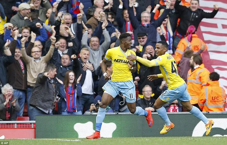 Wilfried Zaha celebrates his goal in the 60th minute which gave Crystal Palace the lead at...