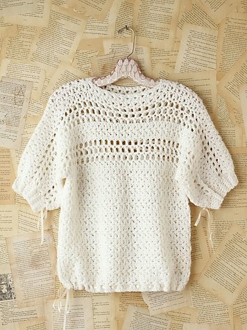 Crochet inspiration! I love simple yet classic designs. This piece is for sale, but there are lots of photos at the site that you could use as a starting point to design one of your own.
