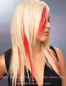 blonde with red streaks. i like this =]: Black Hair, Bright Color, Blondes Highlights, Natural Color, Brown Hair, Funky Hair, Boo Highlights, Peek A Boo, Red Highlights