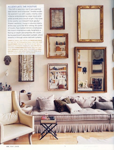 low couchDecor, Ideas, Mirrors Wall, Couch, Livingroom, Gallery Walls, Living Room, Design, Mirrors Mirrors