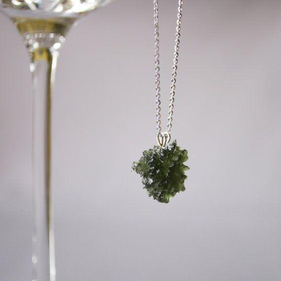 Czech moldavite necklace - sterling silver chain