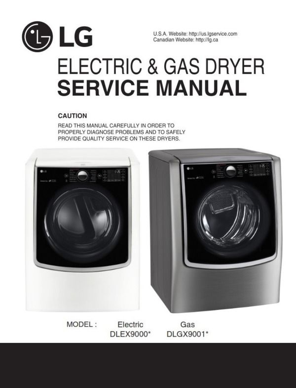 Lg Dlex9000w Dlex9000v Dlgx9001w Dlgx9001v Dryer Service Manual Appliance Repair Shop Disassembly Appliance Repair