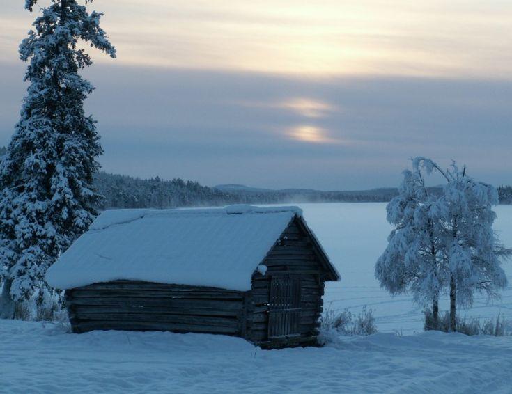 Typical Tornio River Valley snowscape in Pello in Lapland