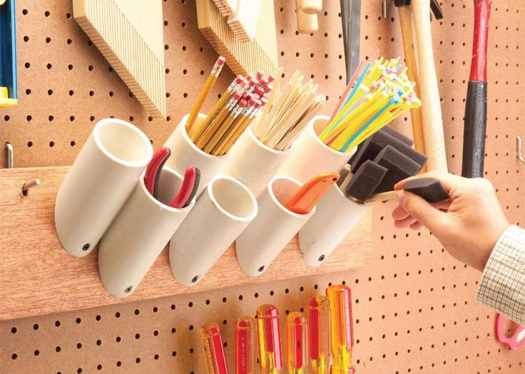 Quick and Clever Workshop Storage Solutions: Storage Pockets for Skinny Things #DIY #organization
