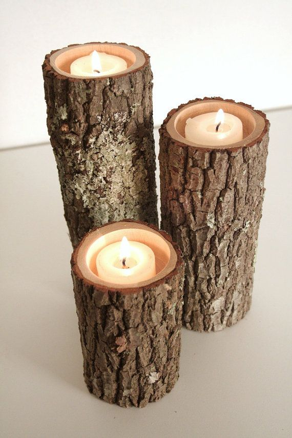 Tree Branch Candle Holders 3 Rustic Sticks Log Candles Repurposed Wood 18 50 Home Sweet Pinterest