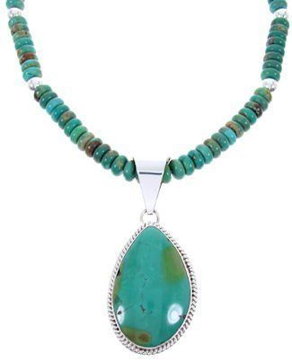 """Navajo Sterling Silver Jewelry Turquoise Pendant Necklace Set MW67894 SilverTribe. $169.99. MATERIALS: Sterling silver and Turquoise.. Southwestern Jewelry. Navajo Sterling Silver Jewelry Turquoise Pendant Necklace Set MW67894. MEASUREMENTS: Pendant measures approximately 2-3/4"""" long (including bail) and 1-1/4"""" at widest point. Necklace measures approximately 19-1/4"""" long. The set weighs 72 grams.. Save 50%!"""