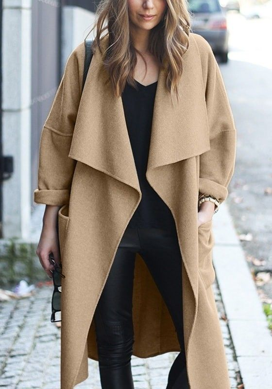 Camel Draped Open-Front Long Coat