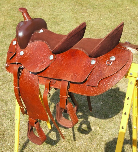 "Double Seat Western Saddle - Horse Buddy Seat / Tandem Seat 15"" & 10"" UNIQUE 