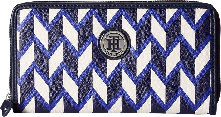 Tommy Hilfiger Women's TH Medallion Zip Wallet Chevron Cobalt/Multi Wallets