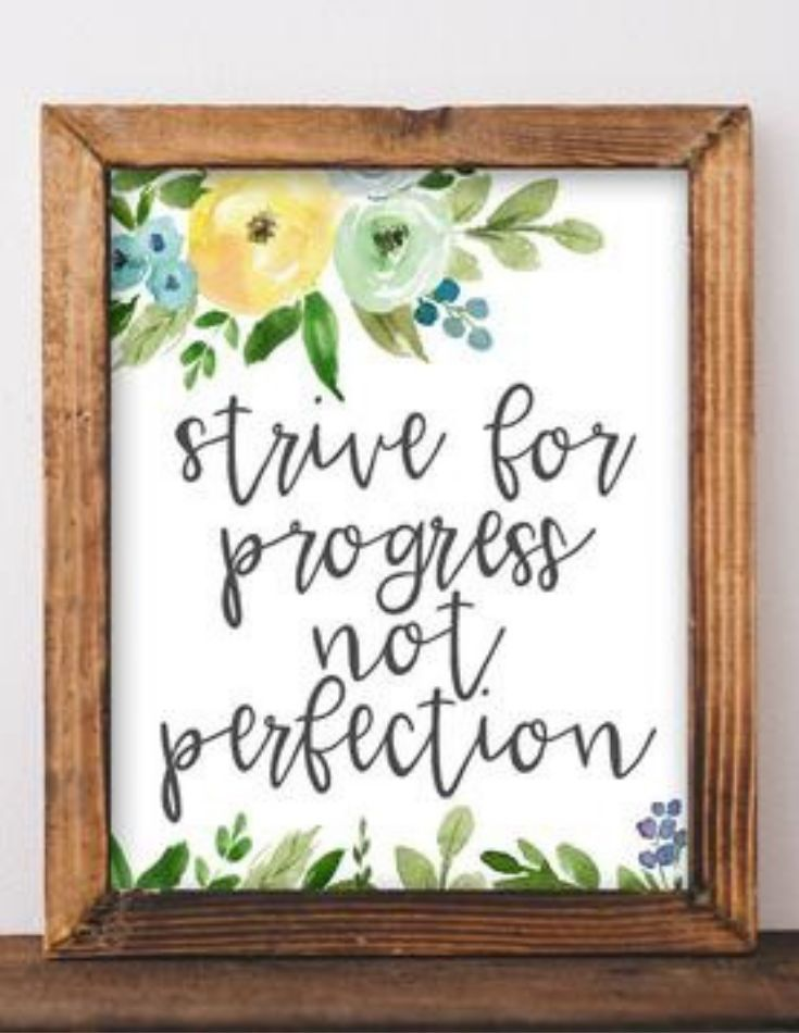 Progress Not Perfection Printable Free Printable Wall Art Rustic Wall Art Floral Quotes