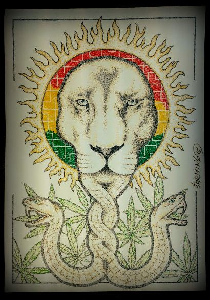 Rasta lion for MMM (Milion Marihuana March) and sayagata :-) art by Šarming