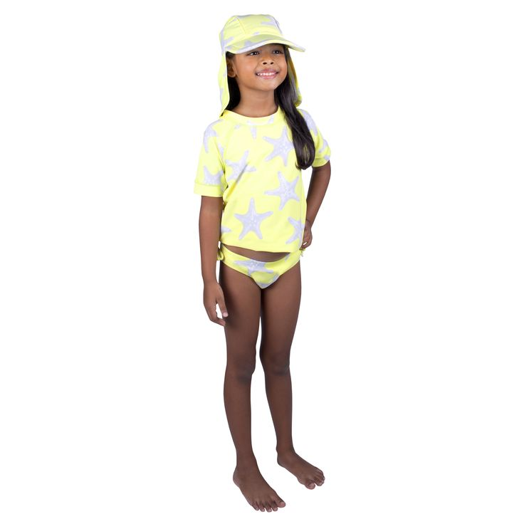 Frolik Starfish ensemble - Sun Hat, Rash Vest and Pants. Available at www.frolikbeachstyle.com in sizes 2-3, 4-5, 6-7 and 8-9yrs.