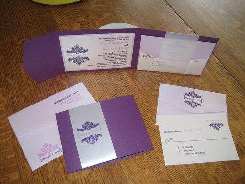 Demask Classic Purple Wedding Invitation Set ~ Deposit | Sweetparties - Wedding on ArtFire