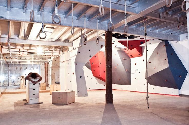 parkour gym, rock holds, bars, rings, boxes