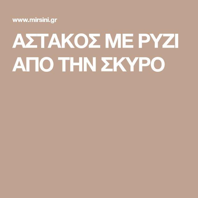 ΑΣΤΑΚΟΣ ΜΕ ΡΥΖΙ ΑΠΟ ΤΗΝ ΣΚΥΡΟ