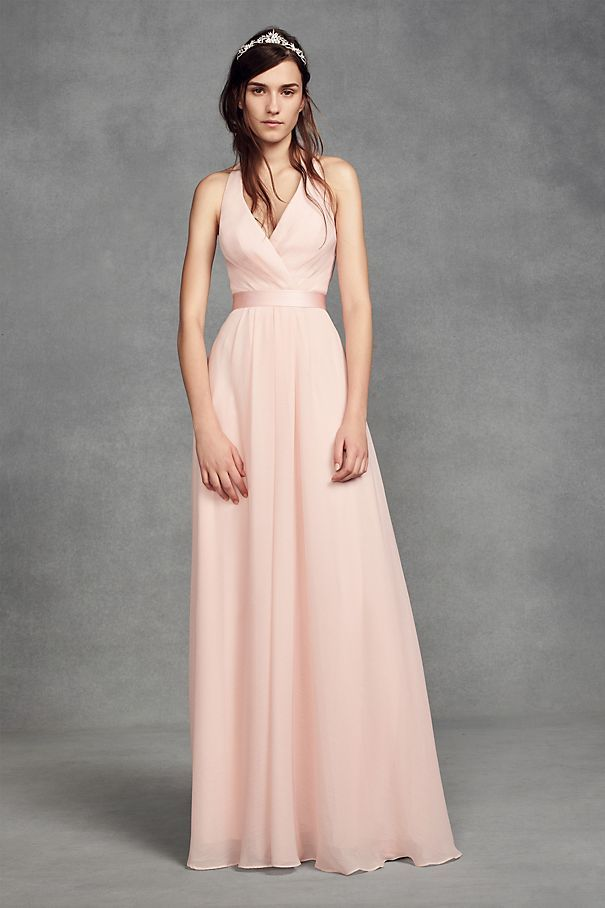 0e42fc7cd41c Chiffon Halter Bridesmaid Dress with Tulle Bow Style VW360418, Apple ...