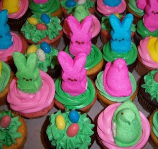 Fun Easter Cupcakes With Peeps Chicks and Peeps Bunnies.