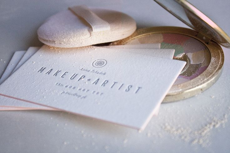 Letterpress business cards with powder pink edges