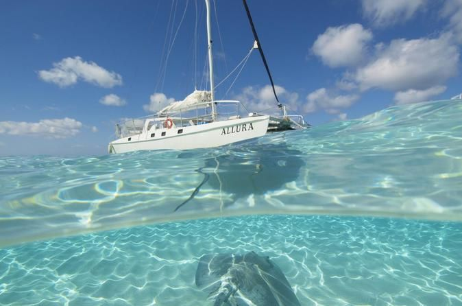 Cayman Islands Stingray City Luxury Sailing and Swimming Tour Sail in the spacious and comfortable Allura catamaran and snorkel in the world famous waters of Grand Cayman's stingray sandbar. Sail the beautiful waters of the North Sound to the stingray sandbar. Swim, and interact with dozens of Southern stingrays. The stingrays literally eat out of your hand!   You will have plenty of photo opportunities before hoisting the sails and returning. Swimming equipment, sa...