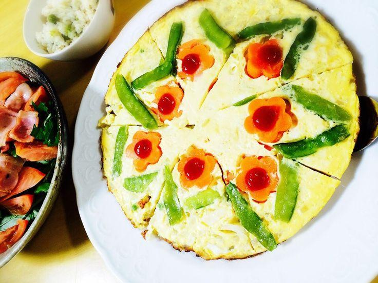 ゆっきー's dish photo オープンオムレツ | http://snapdish.co #SnapDish #簡単料理 #お誕生日 #お花見 #母の日 #敬老の日