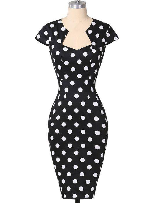 50er jahre vintage rockabilly kleid polka dots kleid hepburn stil partykleid S CL7597-3
