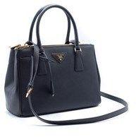 Prada Women's Small Esplanade City Black Leather Satchel Bag.