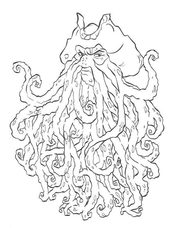 davy jones pirates of the caribbean coloring page for kids