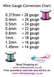 wire gauge conversion chart  #Wire #Jewelry #Tutorials