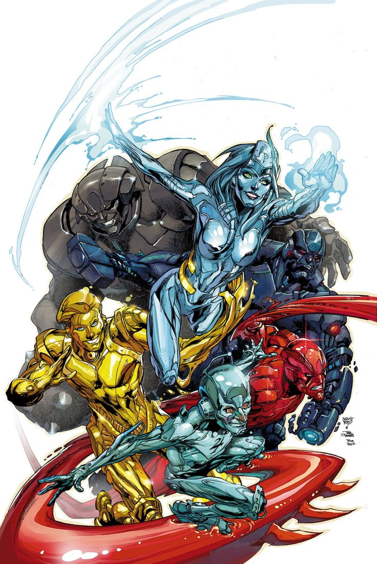 The New 52 Metal Men from DC Comics. Illustration by Ivan Reis and Joe Prado. Love the new designs.