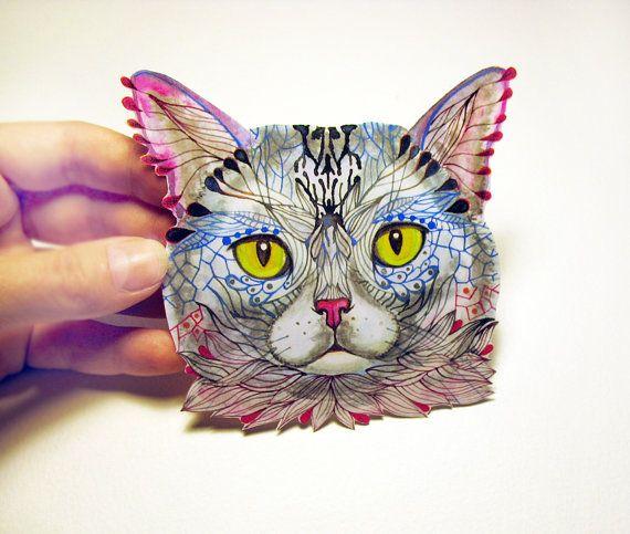 Blue Cat Face Animal Sticker, 100% Waterproof Vinyl Label