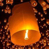 The floating lanterns Festival of Chiang Mai. A Buddist celebration concluding with the release in the sky of thousand of lighted lanterns.