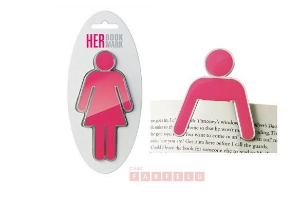 Pour elle, marque-page rose | accueil