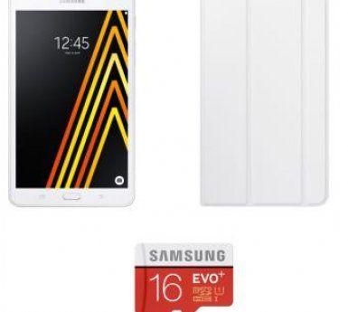 "Pack Fnac Tablette Samsung Galaxy A6 7"" 8 Go Blanc + Carte mémoire Samsung Micro SD 16 Go Evo Plus + Adaptateur SD + Etui Folio Samsung"