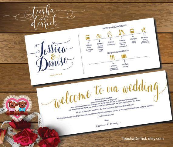 Printable Wedding Weekend Timeline t0107 Wedding by TeeshaDerrick