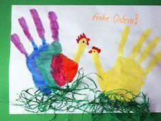 Joyeuses Pâques – empreinte de main comme Hahne & Henne   – ostern