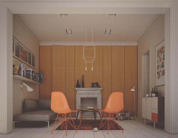 interior design , peach eames chairs
